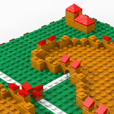 A Carcassonne board made out of lego